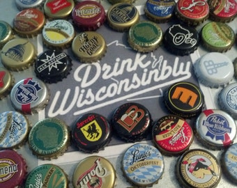 Drink Wisconsinbly 12-pack of  Beer Bottle Cap Magnets from WISCO