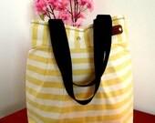 Striped Tote Bag beach tote, Stripes Diaper Bag, Summer Beach Bag Nautical Preppy bag Quilted handbag Beach Tote Shoulder Bag Vacation Bag