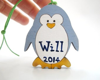 Personalized Kids penguin Ornament - baby first Christmas ornament , kids decor, wooden holiday decor, Christmas gift for kids,