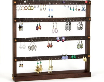 Jewelry Display Stand - Earring Holder, Peruvian Walnut, Wood. Holds up to 96 pairs of Earrings. Jewelry Holder, Earrings Display