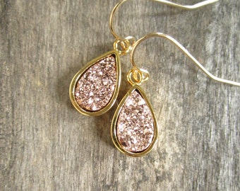 Rose Gold Druzy Earrings, Druzy Earrings, Titanium Druzy Quartz Earrings, Rose Gold Earrings, Drusy Quartz Earrings, Bridal Party Jewelry