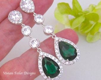 EMERALD GREEN Earrings Wedding Jewelry Cubic Zirconia Tear Drop Prom Pageant Jewelry Bridal Glamorous Bling