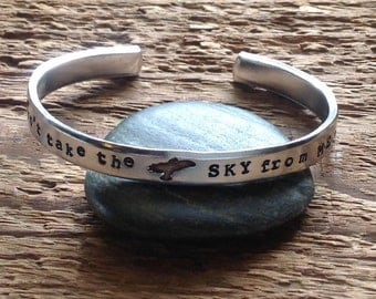 """Hand stamped Firefly inspired bracelet with """"you can't take the sky from me"""""""