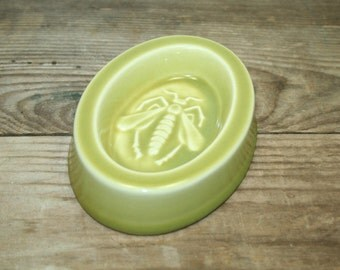 Vintage Green Trinket Dish, Bee Trinket Dish