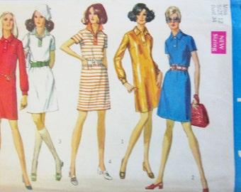 Simplicity 8284 Women's 60s Shirt Type Dress Sewing Pattern Size 12 Bust 34
