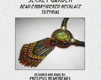 Bead Embroidery Necklace Tutorial PDF Swarovski Green Olivine Bead Embroidered