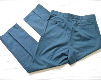 Vintage 1980s Men's Haggar Dress Pants Blue Trousers Slacks 80s Navy 36 x 30