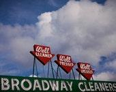 Broadway Cleaners Neon Sign - Laundry Room Decor - Bay Area Art - Retro Home Decor - Mid Century Modern Art - Fine Art Photography