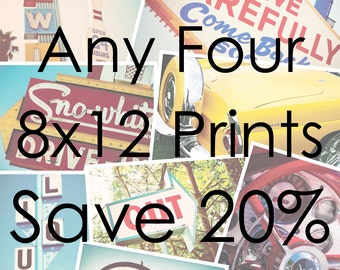 Choose Your Own Set of Four 8x12 Prints - Save 20% on Set of Four Fine Art Photographs - Personalized Affordable Home Decor