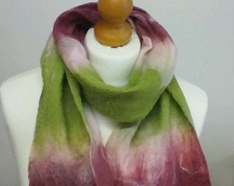 cobweb felted scarf pink green