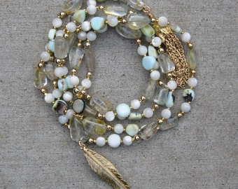 Peruvian Opal, Rutilated Quartz, Mother of Pearl, 14K Gold Fill Long Necklace/Tassel
