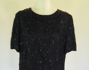 Candlelight Black Lace Beaded Shirt Top Glam