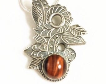 Tigereye forest fairy necklace, silver tiger eye pendant