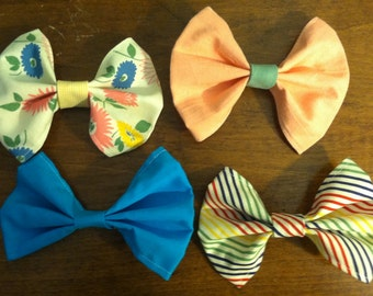 Hand Crafted Hand Made Fabric Bows - Set of 4