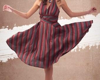 Marsala striped dress By TiCCi Rockabilly Clothing2015