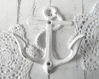anchor wall hook white nautical hook beach house decor shabby chic rustic decor nautical bathroom hook distressed hook french country
