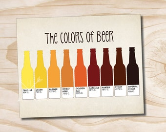 craft beer poster typography the colors of beer printed 8x10 poster
