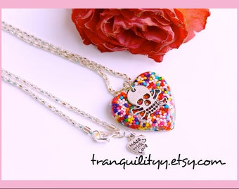 Candy Sprinkle Heart Necklace ,Sweet Secrets Candy  Sprinkle Resin Skull Necklace , Handmade By: Tranquilityy