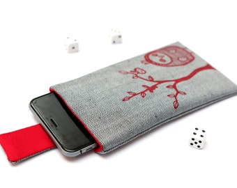 Nokia 6 sleeve, Nokia 5 sleeve case pouch with magnetic closure light jeans and red with red Owl