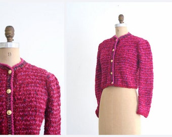 rag knit cotton cardigan sweater - vintage 80s / Deep Raspberry - hot pink - 1980s crest buttons / Autumn - Fall
