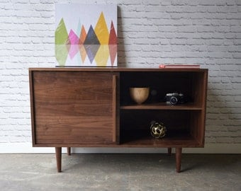Whitewater Media Credenza with Sliding Door in Solid Walnut