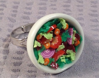 Garden Salad Bowl Ring - Food Jewelry. Polymer clay Great gift idea. Custom oders are available.