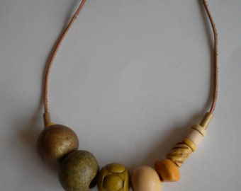 ceramic beaded olive beige genuine leather necklace handmade with love