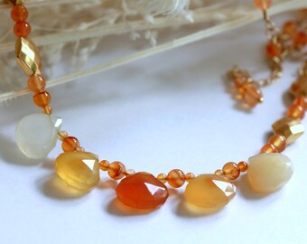 Autumn Teardrop Necklace, Beaded Necklace, Beadwork Necklace, Statement Necklace, Gemstone Necklace, Bridal Jewelry, Modern, Mother's Day
