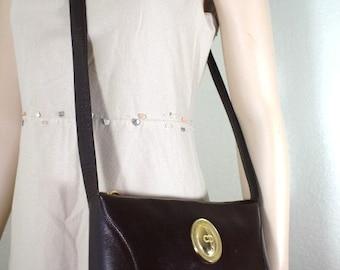 Vintage Christian DIOR Brown Leather CD Metal Sling Shoulder Bag France