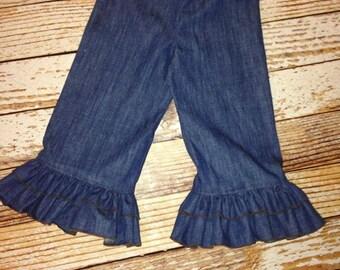 Baby Girl Ruffle Pants- Girls Ruffle Pants- Double Ruffle Pants- Boutique Pants- Denim Ruffle Pants- Girls Denim Capris- Girls Denim pants