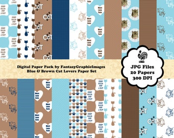 Kitty Cat Digital Paper Pack Blue Brown - Cat Lovers Series - 20 Papers - Printable Photography Background DIY Scrapbooking Instant Download