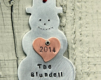 Snowman Ornament - Family Ornament - Frosty Ornament - Christmas Ornament - Family Name Ornament - holiday Decor - holidays
