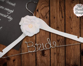 SALE Personalized Wedding Hanger with Rhinestone Flower Accent. Brides Hanger/ Bride/ Name Hanger/ Wedding Hanger / 47 ribbon colors