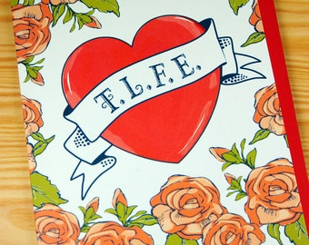 Tattoo Card -  True Love Forever - Heart and Roses