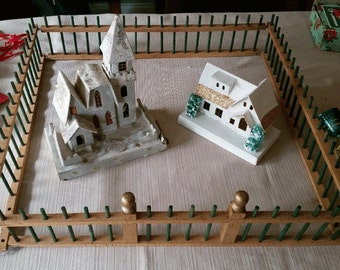 Vintage Wooden Christmas Fence for Putz Village, Feather Tree, Christmas Decoration
