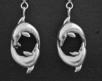 Sterling Silver Large Dolphin Earrings on Heavy Sterling Silver French Wires