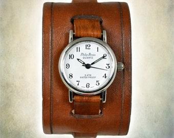 Women's Handmade Leather Cuff Watch