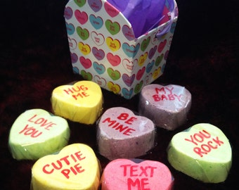CONVERSATION HEART BOMB! BaTh CaNdieS - Fizzy Valentine's DayCandy Bath Wrapped and Ready for Giving.  Gift Idea, Party Favor, Basket Filler