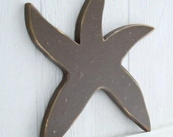 painted starfish wood wall art
