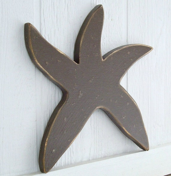 Red Starfish Wall Decor : Painted starfish wood wall art