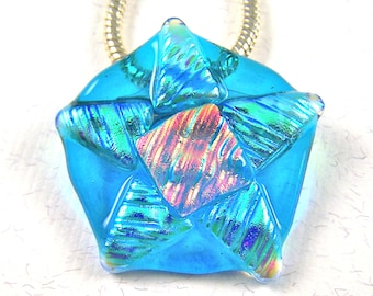 """Dichroic Pendant Brooch Star Starfish Pin AND Pendant - 1.5"""" - Turquoise Blue Yellow Green Peach Copper Orange Coral Fused Glass"""