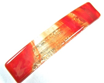 """Tiffany Barrette - SMALL 2.5"""" 65mm - Bright HOT RED with Clear Marbling Swirls Marbled Fused Glass"""