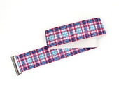 CLEARANCE - Women's plaid belt - blue and pink elastic belt, dark silver flat clasp at front