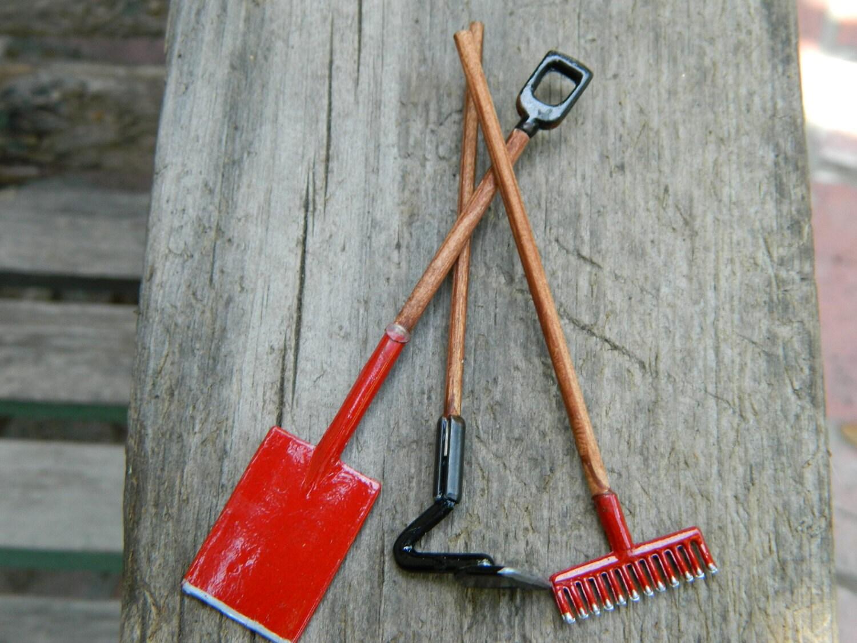 Miniature fairy garden accessories tools set of three antiqued for Miniature garden tools