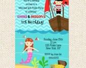 Mermaid Pirate Birthday invitations