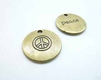"""15 pcs 20mm Antique Bronze """"Peace"""" Round Charm Pendant C7108"""