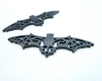 10pcs 19x55mm Enamel Black Filigree Bat Charm Pendant c7903