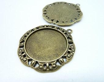 10pcs 35mm-25mm HG Antique Bronze Round Cameo Cabochon Base Setting Pendants Blank Tray Board C7961