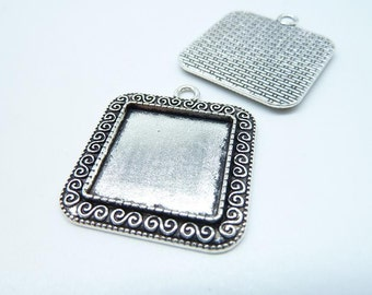 10pcs 20x20mm Antique Silver Square Cameo Cabochon Base Setting Pendants Charm Pendant Blank Tray Board C7965