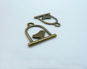 30pcs 15x17mm Antique Bronze Mini  Bord In The Cage Charm Pendant C2428